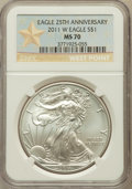 Modern Bullion Coins, 2011-W $1 Silver Eagle, 25th Anniversary Set, Struck at West .Point Mint MS70 NGC. NGC Census: (9672). PCGS Population (63...