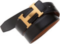 Art Glass:Daum, Hermes Reversible Gold and Black Calf Box Leather Belt with Gold HBuckle . ...