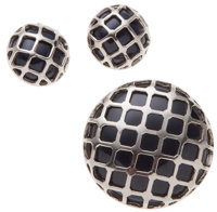 Lanvin Silver Filigree and Black Brooch and Earrings Set