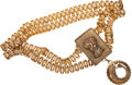 Luxury Accessories:Accessories, Christian Dior Double Strand Gold Chain Belt with DecorativePendant. ...