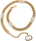 Luxury Accessories:Accessories, Gucci Gold and Silver Logo Chain Necklace with GG Charm Closure....