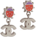 Luxury Accessories:Accessories, Chanel Ladybug Earrings with White Enamel CC Logo . ...