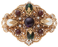 Chanel Gripoix, Crystal, and Faux Pearl Brooch