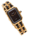 Luxury Accessories:Accessories, Chanel Premiere Ladies Watch with Classic Gold Chain and LeatherStrap Size L . ...
