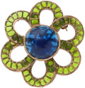 Luxury Accessories:Accessories, Chanel Blue and Green Gripoix Flower Brooch. ...