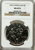 Modern Issues, 1994-D $1 World Cup Silver Dollar MS69 Prooflike NGC. NGC Census:(997/66). PCGS Population (1335/42). Mintage: 81,698. Num...