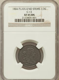 Half Cents, 1804 1/2 C Plain 4, No Stems XF45 NGC. C-13. NGC Census: (70/615).PCGS Population (86/388). Mintage: 1,055,312. Numismedia...