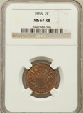 Two Cent Pieces: , 1865 2C MS64 Red and Brown NGC. NGC Census: (348/417). PCGSPopulation (617/286). Mintage: 13,640,000. Numismedia Wsl. Pric...