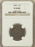 Half Cents: , 1828 1/2 C 13 Stars VF20 NGC. NGC Census: (8/780). PCGS Population(4/813). Mintage: 606,000. Numismedia Wsl. Price for pro...