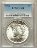 Peace Dollars: , 1922 $1 MS64 PCGS. PCGS Population (41457/6395). NGC Census:(79263/15850). Mintage: 51,737,000. Numismedia Wsl. Price for ...