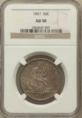 Seated Half Dollars: , 1857 50C AU50 NGC. NGC Census: (12/144). PCGS Population (25/111).Mintage: 1,988,000. Numismedia Wsl. Price for problem fr...