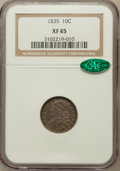 Bust Dimes: , 1835 10C XF45 NGC. CAC. NGC Census: (26/394). PCGS Population(68/354). Mintage: 1,410,000. Numismedia Wsl. Price for probl...
