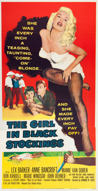 "The Girl in Black Stockings (United Artists, 1957). Three Sheet (41"" X 79"")"