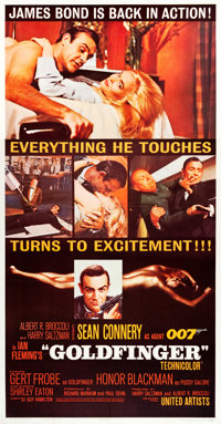 "Goldfinger (United Artists, 1964). Three Sheet (41"" X 79.5"")"