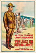 "Movie Posters:War, World War I Recruitment Poster (Triangle, 1917). ""Who Leads theNational Army!"" Theatrical Poster (27"" X 40.5"").. ..."