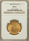 Indian Eagles: , 1908 $10 Motto MS62 NGC. NGC Census: (1403/773). PCGS Population(1405/1061). Mintage: 341,300. Numismedia Wsl. Price for p...