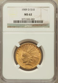 Indian Eagles: , 1909-D $10 MS62 NGC. NGC Census: (243/94). PCGS Population(302/180). Mintage: 121,540. Numismedia Wsl. Price for problem f...