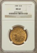 Indian Eagles: , 1909 $10 MS62 NGC. NGC Census: (551/217). PCGS Population(655/339). Mintage: 184,700. Numismedia Wsl. Price for problemfr...