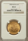 Indian Eagles, 1908 $10 Motto MS63 NGC. NGC Census: (468/305). PCGS Population(742/319). Mintage: 341,300. Numismedia Wsl. Price for prob...