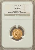 Indian Quarter Eagles: , 1913 $2 1/2 MS63 NGC. NGC Census: (1648/1108). PCGS Population(1166/909). Mintage: 722,000. Numismedia Wsl. Price for prob...