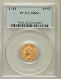 Indian Quarter Eagles: , 1913 $2 1/2 MS63 PCGS. PCGS Population (1166/909). NGC Census:(1648/1108). Mintage: 722,000. Numismedia Wsl. Price for pro...