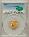 Indian Quarter Eagles, 1913 $2 1/2 MS63 PCGS. CAC. PCGS Population (1166/909). NGC Census:(1648/1108). Mintage: 722,000. Numismedia Wsl. Price fo...