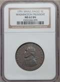 Colonials, 1791 1C Washington Small Eagle Cent MS62 Brown NGC. Baker-16,W-10630, R.3....