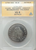 Early Half Dollars, 1794 50C -- Repaired, Graffiti, Re-engraved, Polished -- ANACS. VG8Details. O-106, Low R.6....