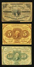 Fractional Currency:First Issue, A Trio of Fractionals.. ... (Total: 3 notes)