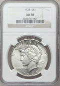 Peace Dollars: , 1928 $1 AU58 NGC. NGC Census: (892/4360). PCGS Population(988/6021). Mintage: 360,649. Numismedia Wsl. Price for problemf...