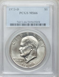Eisenhower Dollars: , 1973-D $1 MS66 PCGS. PCGS Population (287/11). NGC Census: (66/2).Mintage: 2,000,000. Numismedia Wsl. Price for problem fr...