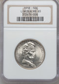 Commemorative Silver: , 1918 50C Lincoln MS65 NGC. NGC Census: (1101/350). PCGS Population(1225/597). Mintage: 100,058. ...