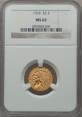 Indian Quarter Eagles: , 1926 $2 1/2 MS62 NGC. NGC Census: (5722/8402). PCGS Population(3084/6475). Mintage: 446,000. Numismedia Wsl. Price for pro...