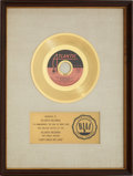 "Music Memorabilia:Awards, Wilson Pickett ""Don't Knock My Love"" RIAA Gold Record Award (1971)...."
