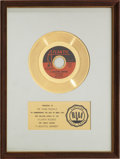 "Music Memorabilia:Awards, The Rascals ""A Beautiful Morning"" RIAA Gold Record Award (1968)...."