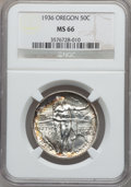 Commemorative Silver: , 1936 50C Oregon MS66 NGC. NGC Census: (519/142). PCGS Population(550/172). Mintage: 10,006. Numismedia Wsl. Price for prob...