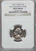 Errors, 1970-S 5C Proof Jefferson Nickel -- Die Adjustment Strike --NGC....