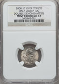Errors, 2000 1C Lincoln Cent -- Double Denomination, Over Struck on a2000-P 10C -- MS62 NGC....