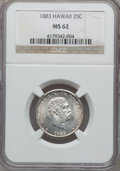Coins of Hawaii: , 1883 25C Hawaii Quarter MS62 NGC. NGC Census: (136/674). PCGSPopulation (181/885). Mintage: 500,000. ...