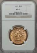 Liberty Eagles: , 1893 $10 MS61 NGC. NGC Census: (10605/19697). PCGS Population(5453/9463). Mintage: 1,840,895. Numismedia Wsl. Price for pr...