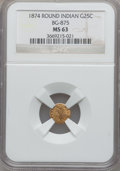 California Fractional Gold: , 1874 25C Indian Round 25 Cents, BG-875, High R.4, MS63 NGC. NGCCensus: (3/4). PCGS Population (18/42). ...