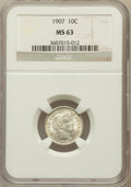 Barber Dimes: , 1907 10C MS63 NGC. NGC Census: (93/178). PCGS Population (119/168). Mintage: 22,220,576. Numismedia Wsl. Price for problem ...