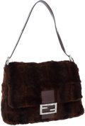 Luxury Accessories:Accessories, Fendi Brown Fur Shoulder Bag with Lizard Detail and Jeweled Clasp....