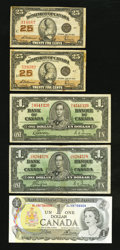 Canadian Currency: , A Small Set of Canadian Notes.. ... (Total: 5 notes)