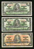 Canadian Currency: , BC-21d $1 1937 Two Examples;. BC-22c $2 1937. ... (Total: 3 notes)