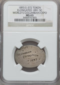 Expositions and Fairs, 1893 World's Columbian Exposition, Elongated 1891 Nickel MS63 NGC. Eglit-372....