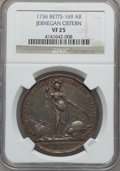 Betts Medals, 1736 Jernegan Cistern, Silver VF25 NGC. Betts-169....