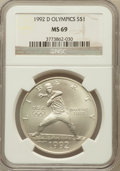 Modern Issues: , 1992-D $1 Olympic Silver Dollar MS69 NGC. NGC Census: (3122/157).PCGS Population (2443/113). Mintage: 187,552. Numismedia ...