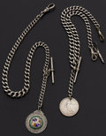 Timepieces:Watch Chains & Fobs, Two English Hallmarked Silver Chains With Fobs. ... (Total: 2Items)