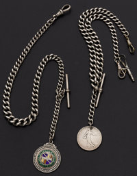 Two English Hallmarked Silver Chains With Fobs